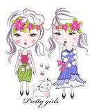 κατσίκι κοριτσιών λουλ&omi διανυσματική απεικόνιση