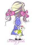 κατσίκι κοριτσιών μόδας τόξ διανυσματική απεικόνιση