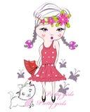 κατσίκι κοριτσιών μόδας τόξ απεικόνιση αποθεμάτων