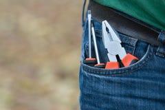 Κατσαβίδια στην τσέπη του τζιν παντελόνι Στοκ Εικόνες