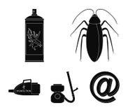 Κατσαρίδα και εξοπλισμός για τα μαύρα εικονίδια απολύμανσης στην καθορισμένη συλλογή για το σχέδιο Διανυσματικό σύμβολο εξυπηρετή απεικόνιση αποθεμάτων