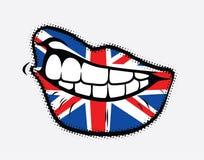 Κατσαρωμένα χείλια με τη σημαία της Μεγάλης Βρετανίας Στοκ Εικόνες