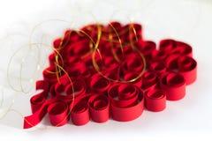 Κατσαρωμένη κόκκινη καρδιά Στοκ εικόνα με δικαίωμα ελεύθερης χρήσης