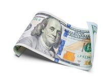 Κατσαρωμένος εκατό δολάρια Μπιλ στοκ φωτογραφία
