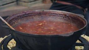 Κατσαρόλα με το ψητό της βράζοντας σάλτσας ντοματών σούπας κρέατος απόθεμα βίντεο