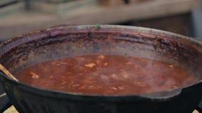 Κατσαρόλα με το ψητό του κρέατος που βράζει στη σάλτσα ντοματών Σε αργή κίνηση της βράζοντας σούπας απόθεμα βίντεο