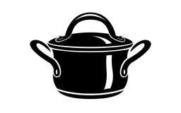 Κατσαρόλλα για το καυτό εικονίδιο πιάτων μαγείρων, απλό ύφος Στοκ εικόνες με δικαίωμα ελεύθερης χρήσης