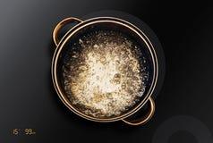 Κατσαρόλλα στη μαύρη επαγωγή cooktop στοκ φωτογραφία με δικαίωμα ελεύθερης χρήσης