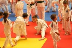 Κατώτεροι μαχητές Jitsu Jiu στο ρουμανικό πρωτάθλημα, νεώτεροι, το Μάιο του 2018 στοκ εικόνα