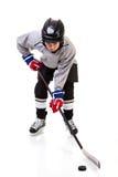 Κατώτερος παίκτης χόκεϋ πάγου που απομονώνεται στο άσπρο υπόβαθρο Στοκ Εικόνες