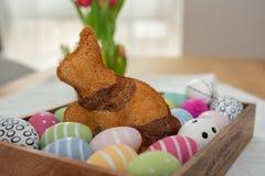 Κατ' οίκον γίνοντα κέικ λαγουδάκι Πάσχας στοκ εικόνες