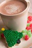 Κατ' οίκον γίνοντα μπισκότο χριστουγεννιάτικων δέντρων με την καυτή σοκολάτα Στοκ Εικόνες