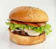 Κατ' οίκον γίνοντα burger στοκ φωτογραφία με δικαίωμα ελεύθερης χρήσης
