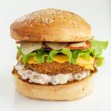 Κατ' οίκον γίνοντα burger στοκ εικόνα με δικαίωμα ελεύθερης χρήσης