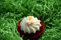 Κατ' οίκον γίνοντα muffin Πάσχας που διακοσμείται με το αυγό Πάσχας Στοκ Εικόνες