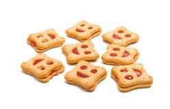 Κατ' οίκον γίνοντα smiley μπισκότων που απομονώνεται Στοκ Φωτογραφία