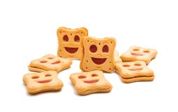 Κατ' οίκον γίνοντα smiley μπισκότων που απομονώνεται Στοκ Εικόνες