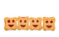 Κατ' οίκον γίνοντα smiley μπισκότων που απομονώνεται Στοκ φωτογραφία με δικαίωμα ελεύθερης χρήσης