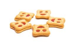 Κατ' οίκον γίνοντα smiley μπισκότων που απομονώνεται Στοκ εικόνα με δικαίωμα ελεύθερης χρήσης