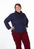 Καυκάσια γυναίκα μπλε και κόκκινος Στοκ φωτογραφίες με δικαίωμα ελεύθερης χρήσης