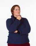 Καυκάσια γυναίκα μπλε και κόκκινος Στοκ Φωτογραφίες