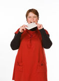 Καυκάσια γυναίκα στο πορτοκάλι και το μπλε Στοκ εικόνες με δικαίωμα ελεύθερης χρήσης