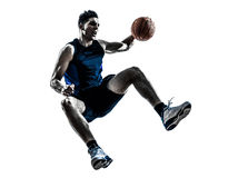 Καυκάσια σκιαγραφία άλματος παίχτης μπάσκετ ατόμων Στοκ Φωτογραφίες