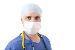 Καυκάσιος γιατρός στο άσπρο υπόβαθρο στοκ φωτογραφία