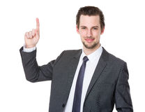 Καυκάσιος επιχειρηματίας με το σημείο δάχτυλων επάνω Στοκ φωτογραφίες με δικαίωμα ελεύθερης χρήσης