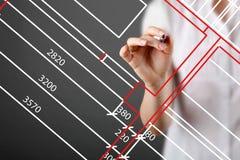 Καυκάσιος θηλυκός αρχιτέκτονας που εργάζεται στον πίνακα αφής σχεδίων στο γραφείο Σχέδιο ορόφων, πολυάσχολος, έννοια συγκέντρωσης Στοκ εικόνα με δικαίωμα ελεύθερης χρήσης