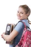 Καυκάσιος φοιτητής πανεπιστημίου με backpack copybooks Στοκ Εικόνες