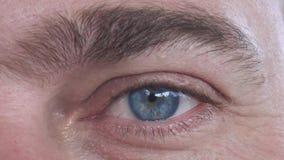 Καυκάσιο αρσενικό μπλε μάτι με τις διαφορετικές συγκινήσεις στενό άκρο επάνω απόθεμα βίντεο