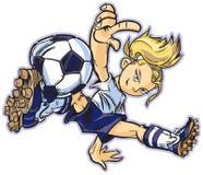 Καυκάσιο κορίτσι ποδοσφαίρου σπασιμάτων χορεύοντας