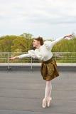 Καυκάσιο ballerina μόδας που πηδά στη στέγη στοκ εικόνες με δικαίωμα ελεύθερης χρήσης
