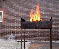Καυσόξυλο και πυρκαγιά στην παλαιά σκουριασμένη σχάρα ξυλάνθρακα Στοκ φωτογραφίες με δικαίωμα ελεύθερης χρήσης