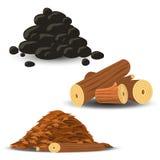Καυσόξυλο, ξύλινα τσιπ και άνθρακας απεικόνιση αποθεμάτων