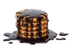 Καυτά φοντάν σοκολάτας και μπισκότο μπισκότων βρωμών Στοκ Εικόνες