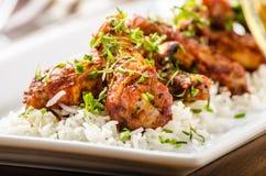 Καυτά φτερά με basmati το ρύζι Στοκ Φωτογραφίες