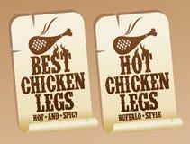 καυτές αυτοκόλλητες ετικέττες ποδιών κοτόπουλου Στοκ φωτογραφία με δικαίωμα ελεύθερης χρήσης