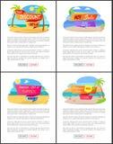 Καυτή θερινή πώληση με την έκπτωση μέχρι 35 σύνολο Promo διανυσματική απεικόνιση
