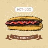 Καυτή -καυτός-dogfast διανυσματική απεικόνιση τροφίμων στο εκλεκτής ποιότητας ύφος, που παρουσιάζει γεύμα με την επιγραφή, Στοκ εικόνες με δικαίωμα ελεύθερης χρήσης