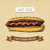 Καυτή -καυτός-dogfast διανυσματική απεικόνιση τροφίμων στο εκλεκτής ποιότητας ύφος, που παρουσιάζει γεύμα με την επιγραφή, Στοκ Εικόνα