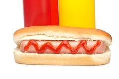 καυτή μουστάρδα κέτσαπ σκυλιών μπουκαλιών Στοκ Εικόνες