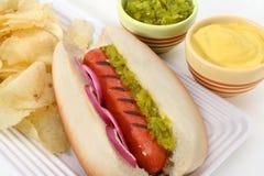 καυτή πατάτα γεύματος γρήγορου φαγητού σκυλιών τσιπ Στοκ φωτογραφία με δικαίωμα ελεύθερης χρήσης