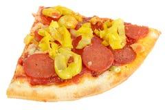 Καυτή πικάντικη φέτα Pepperoni και της πίτσας γρήγορου φαγητού πιπεριών Στοκ φωτογραφία με δικαίωμα ελεύθερης χρήσης