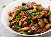 Καυτή πικάντικη stew μελιτζάνα στο κορεατικό ύφος με το πράσινο κρεμμύδι στοκ φωτογραφία