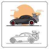 Καυτή πλάγια όψη αγωνιστικών αυτοκινήτων απεικόνιση αποθεμάτων