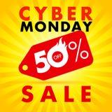Καυτή πώληση ετικετών έκπτωσης Δευτέρας Cyber μέχρι 50% μακριά Στοκ Φωτογραφίες