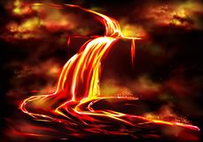 Καυτή ροή μάγματος που προκαλείται από το ηφαιστειακό διάνυσμα δραστηριότητας διανυσματική απεικόνιση