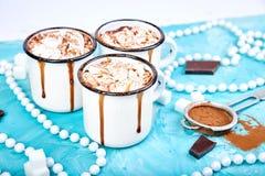 Καυτή σοκολάτα με marshmallow τις καραμέλες στο ξύλινο υπόβαθρο στοκ φωτογραφίες με δικαίωμα ελεύθερης χρήσης